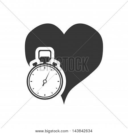 heart chronometer healthy lifestyle fitness silhouette icon. Flat and Isolated design. Vector illustration