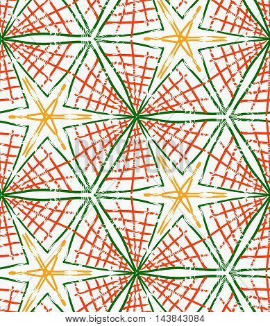 Rough Brush Green And Orange Checkered Triangles