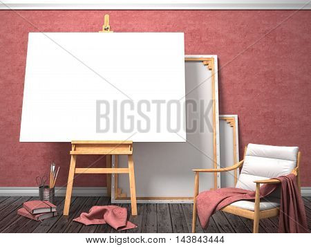 Mock up canvas frame with easy chair easel floor and red wall. 3D render illustration