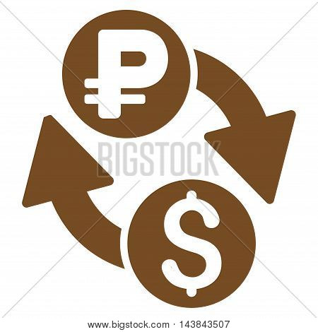 Dollar Rouble Exchange icon. Vector style is flat iconic symbol with rounded angles, brown color, white background.