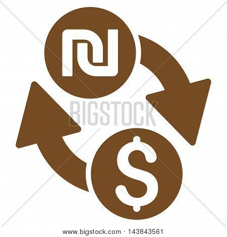 Dollar Shekel Exchange icon. Vector style is flat iconic symbol with rounded angles, brown color, white background.