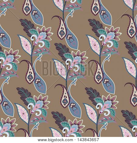 Fantasy flowers seamless paisley pattern. Floral ornament for fabric textile cards wrapping paper wallpaper template.Ornamental bright background