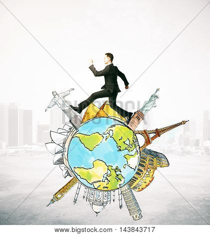 Businessman running on abstract globe with sights on abstract city background. Travel concept