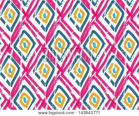 Rough Brush Pink Diamond Grid