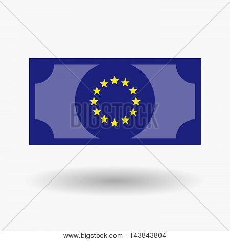 Isolated  Bank Note Icon With  The Eu Flag Stars