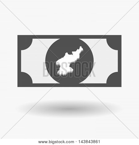 Isolated  Bank Note Icon With  The Map Of North Korea