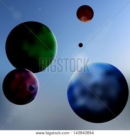 Simple geometric vector illustration. Abstract planets in the sky