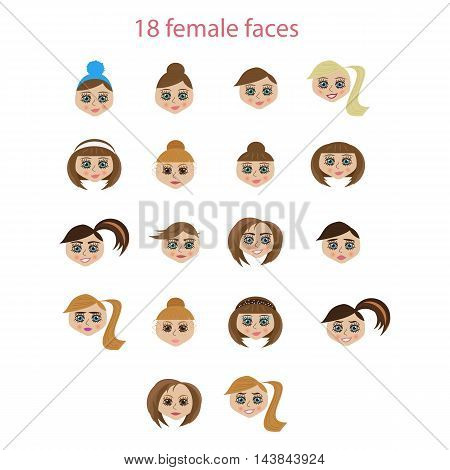 many different female faces of the European type