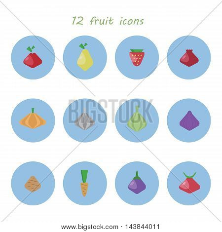 many different flat symbols of fruits and vegetables