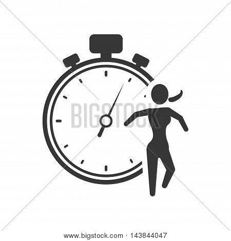 running chronometer healthy lifestyle fitness silhouette icon. Flat and Isolated design. Vector illustration