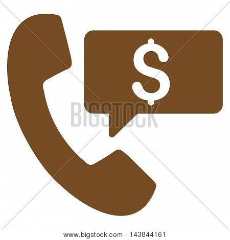 Phone Order icon. Vector style is flat iconic symbol with rounded angles, brown color, white background.
