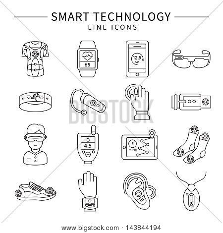 Smart technology monochrome linear icons with virtual reality belt gps socks glasses fitness watch isolated vector illustration