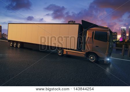 Side view of truck with empty trailer on city and cloudy sky background. Mock up 3D Rendering