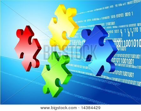 Incomplete Puzzle with Binary Code Background Original Vector Illustration Incomplete Puzzle Ideal for Business Concept