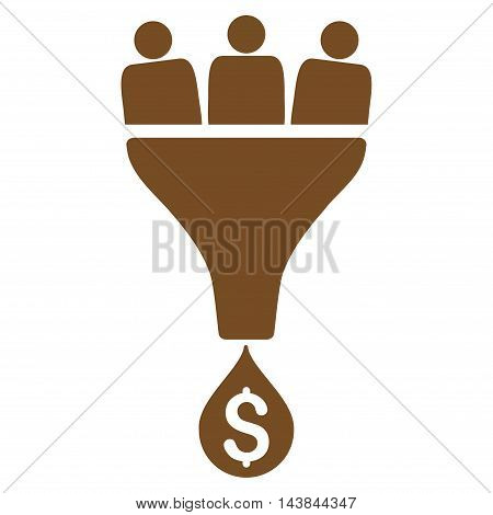 Sales Funnel icon. Vector style is flat iconic symbol with rounded angles, brown color, white background.