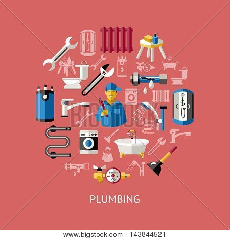 Colored plumbing round composition with isolated icon set combined in big circle vector illustration
