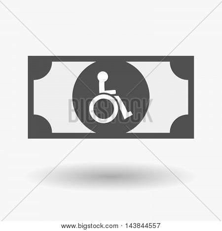 Isolated  Bank Note Icon With  A Human Figure In A Wheelchair Icon