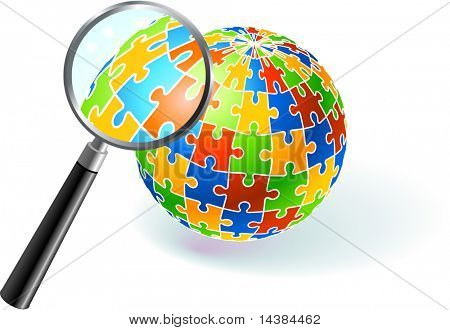 Multi Colored Globe Under Magnifying Glass Original Vector Illustration Multi Colored Globe Puzzle