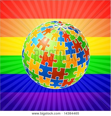 Globe Puzzle for gay Rights Original Vector Illustration Multi Colored Globe Puzzle Ideal for Gay Concept