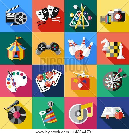 Square entertainment colored icon set on painting theater games and circus themes vector illustration