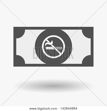 Isolated  Bank Note Icon With  A No Smoking Sign
