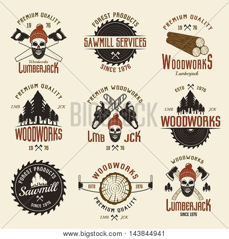Lumberjack colored retro style emblems with timber and working tools on light beige background isolated vector illustration