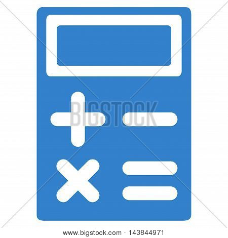 Calculator icon. Vector style is flat iconic symbol with rounded angles, cobalt color, white background.