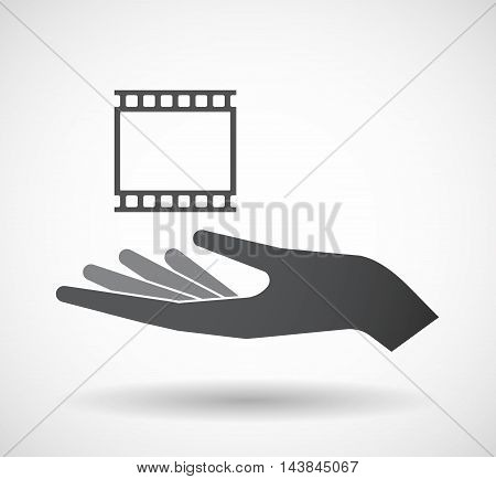 Isolated  Offerign Hand Icon With   A Photographic 35Mm Film Strip