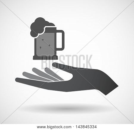 Isolated  Offerign Hand Icon With  A Beer Jar Icon