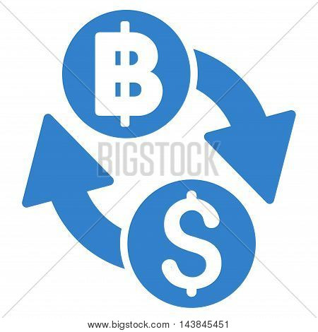 Dollar Baht Exchange icon. Vector style is flat iconic symbol with rounded angles, cobalt color, white background.
