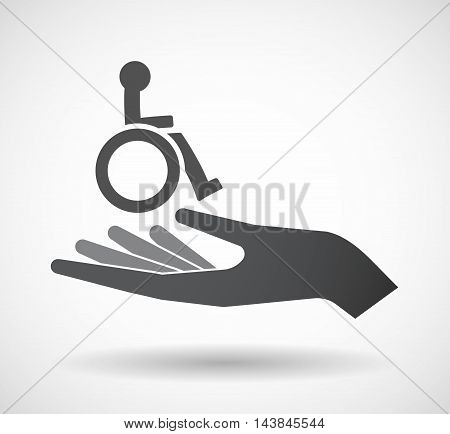 Isolated  Offerign Hand Icon With  A Human Figure In A Wheelchair Icon