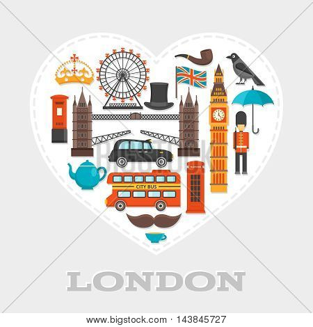London heart composition or poster with isolated icon set on London theme combined in big white heart vector illustration