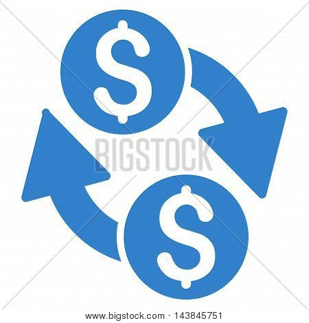 Dollar Exchange icon. Vector style is flat iconic symbol with rounded angles, cobalt color, white background.