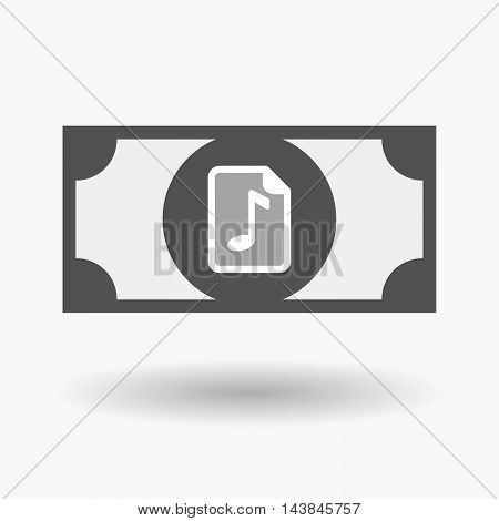 Isolated  Bank Note Icon With  A Music Score Icon