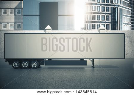 Blank white semi-trailer on city background. Side view Mock up 3D Rendering
