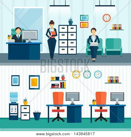 Two office interior compositions with interior furnishings in office and arrangement of furniture vector illustration