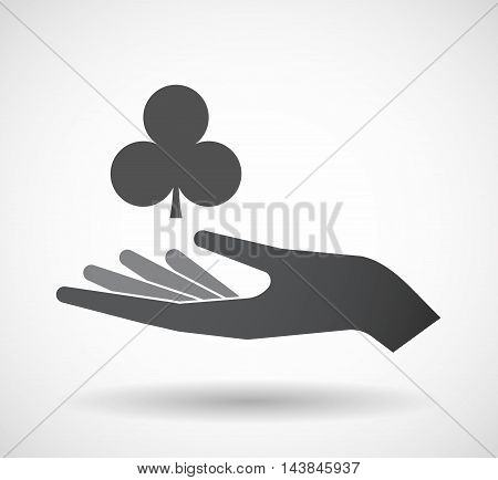 Isolated  Offerign Hand Icon With  The  Club  Poker Playing Card Sign