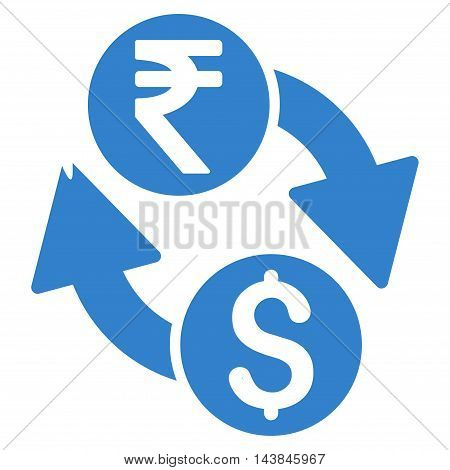 Dollar Rupee Exchange icon. Vector style is flat iconic symbol with rounded angles, cobalt color, white background.