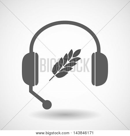 Isolated  Hands Free Headset Icon With  A Wheat Plant Icon