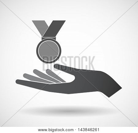Isolated  Offerign Hand Icon With  A Medal