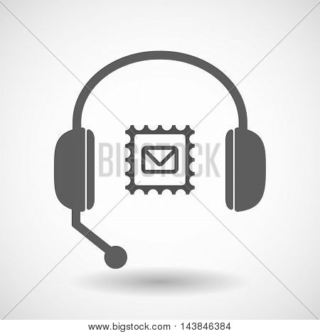 Isolated  Hands Free Headset Icon With  A Mail Stamp Sign