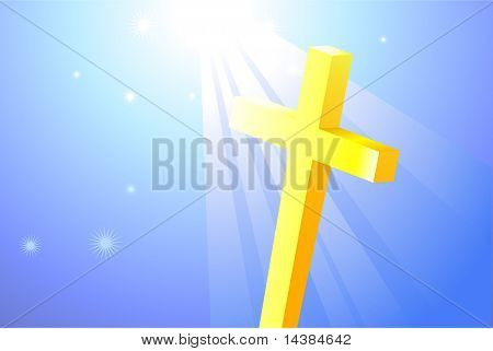 Religious Cross on bright Background Original Vector Illustration Wave Internet Background