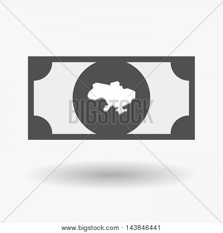 Isolated  Bank Note Icon With  The Map Of Ukraine