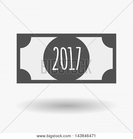 Isolated  Bank Note Icon With  A 2017 Year  Number Icon