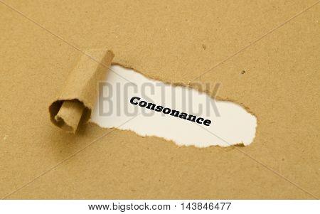 Consonance word written under torn paper .