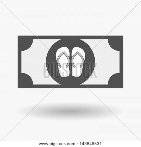 Isolated  Bank Note Icon With   A Pair Of Flops