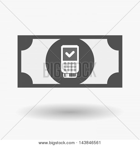 Isolated  Bank Note Icon With  A Dataphone Icon