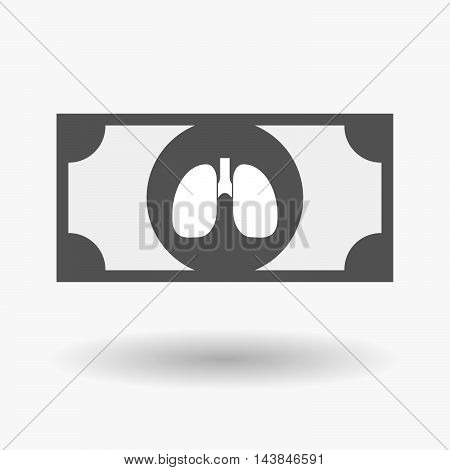 Isolated  Bank Note Icon With  A Healthy Human Lung Icon