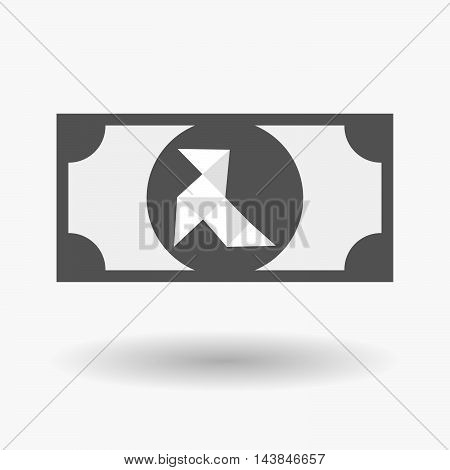 Isolated  Bank Note Icon With  A Paper Bird