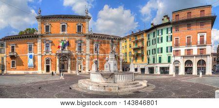 Panorama of Piazza del Mercato in Brescia Lombardy Italy